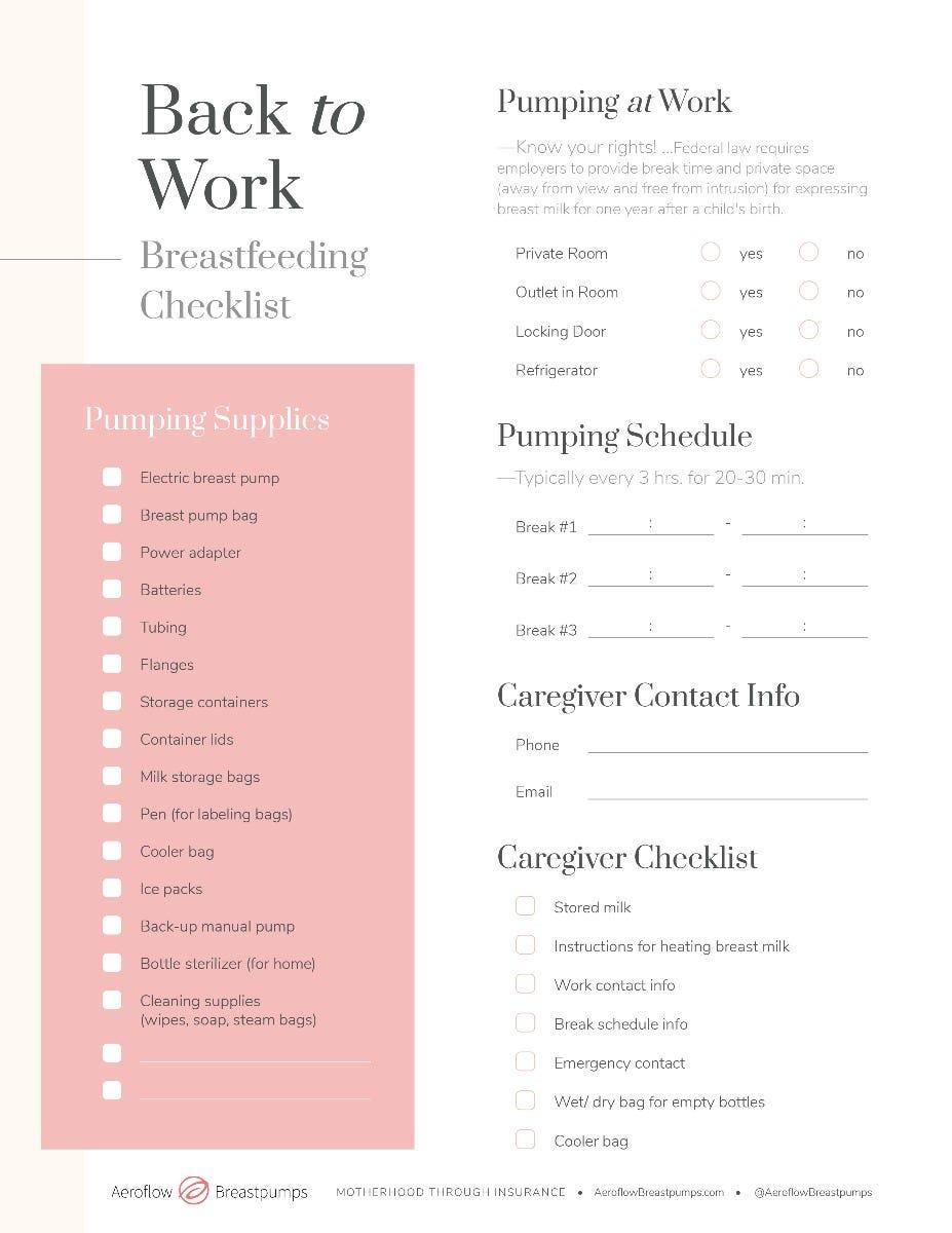 Back to Work Breastfeeding Checklist
