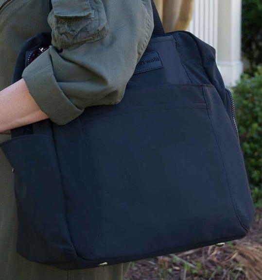 Solid black breast pump bag