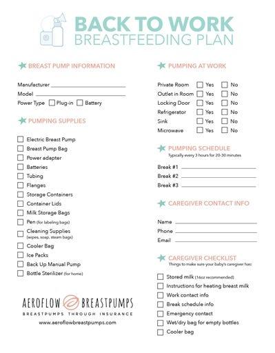Breastfeeding Back to Work Plan